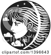 Clipart Of A Black And White Woodcut Profiled Womans Face In A Circle Of Stars And Clouds Royalty Free Vector Illustration