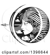 Black And White Woodcut Profiled Womans Face In A Circle Of Stars And Clouds With An Arrow