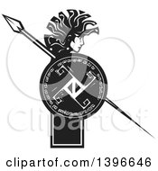 Clipart Of A Black And White Woodcut Profiled Medusa With Her Snake Hair Holding A Spear And Shield Royalty Free Vector Illustration by xunantunich