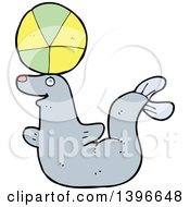Clipart Of A Cartoon Gray Seal Royalty Free Vector Illustration by lineartestpilot
