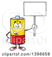 Clipart Of A Cartoon Battery Character Mascot Holding Up A Blank Sign Royalty Free Vector Illustration