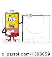 Clipart Of A Cartoon Battery Character Mascot Pointing To A Blank Sign Royalty Free Vector Illustration