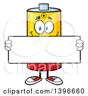Clipart Of A Cartoon Battery Character Mascot Holding A Blank Sign Royalty Free Vector Illustration