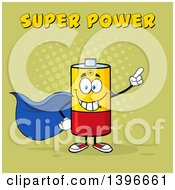 Clipart Of A Cartoon Super Hero Battery Character Mascot With Text On Green Royalty Free Vector Illustration