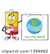 Clipart Of A Cartoon Battery Character Mascot Holding A Save Our Earth Sign Royalty Free Vector Illustration by Hit Toon