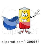 Clipart Of A Cartoon Super Hero Battery Character Mascot Royalty Free Vector Illustration