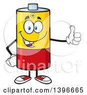 Cartoon Battery Character Mascot Giving A Thumb Up