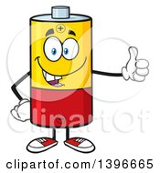 Clipart Of A Cartoon Battery Character Mascot Giving A Thumb Up Royalty Free Vector Illustration by Hit Toon