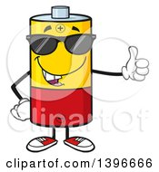 Clipart Of A Cartoon Battery Character Mascot Wearing Sunglasses And Giving A Thumb Up Royalty Free Vector Illustration