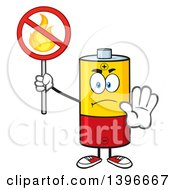 Clipart Of A Cartoon Battery Character Mascot Holding A No Fire Sign Royalty Free Vector Illustration by Hit Toon