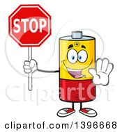Clipart Of A Cartoon Battery Character Mascot Holding A Stop Sign Royalty Free Vector Illustration