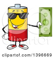 Clipart Of A Cartoon Battery Character Mascot Wearing Sunglasses And Holding Cash Money Royalty Free Vector Illustration