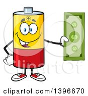 Clipart Of A Cartoon Battery Character Mascot Holding Cash Money Royalty Free Vector Illustration by Hit Toon