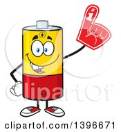 Clipart Of A Cartoon Battery Character Mascot Wearing A Foam Finger Royalty Free Vector Illustration