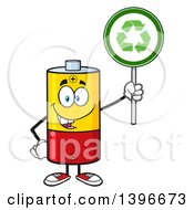 Clipart Of A Cartoon Battery Character Mascot Holding A Recycle Sign Royalty Free Vector Illustration