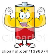 Clipart Of A Cartoon Battery Character Mascot Flexing His Muscles Royalty Free Vector Illustration