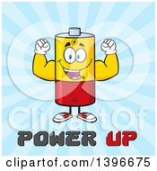 Clipart Of A Cartoon Battery Character Mascot Flexing His Muscles Over Power Up Text On Blue Royalty Free Vector Illustration