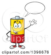 Clipart Of A Cartoon Battery Character Mascot Waving And Talking Royalty Free Vector Illustration by Hit Toon