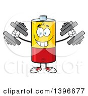 Clipart Of A Cartoon Battery Character Mascot Working Out With Dumbbells Royalty Free Vector Illustration