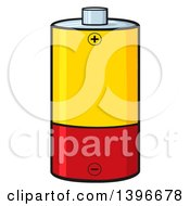 Clipart Of A Cartoon Yellow And Red Battery Royalty Free Vector Illustration