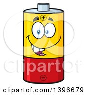 Clipart Of A Cartoon Battery Character Mascot Royalty Free Vector Illustration