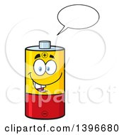 Clipart Of A Cartoon Battery Character Mascot Talking Royalty Free Vector Illustration by Hit Toon
