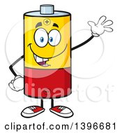 Clipart Of A Cartoon Battery Character Mascot Waving Royalty Free Vector Illustration