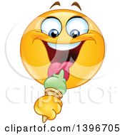 Clipart Of A Cartoon Yellow Smiley Face Emoji Emoticon Eating A Waffle Ice Cream Cone Royalty Free Vector Illustration
