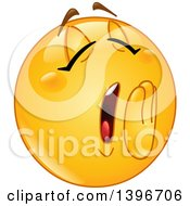 Clipart Of A Cartoon Yellow Smiley Face Emoji Emoticon Yawning Royalty Free Vector Illustration