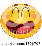 Clipart Of A Cartoon Yellow Laughing Manga Smiley Face Emoji Emoticon Royalty Free Vector Illustration