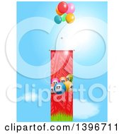 3d Bingo Ball And Card Banner With Balloons Against Sky