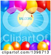 Background Of 3d Colorful Party Balloons With A Sunny Sky