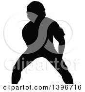 Clipart Of A Black Sihhouetted Man Working Out Doing Bicep Curls Royalty Free Vector Illustration by dero