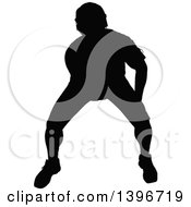 Clipart Of A Black Sihhouetted Man Working Out Doing Seated Bicep Curls Royalty Free Vector Illustration by dero