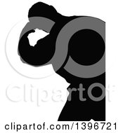 Clipart Of A Black Sihhouetted Man Working Out Royalty Free Vector Illustration by dero