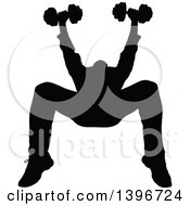 Clipart Of A Black Sihhouetted Man Working Out Doing Bench Chest Presses Royalty Free Vector Illustration by dero