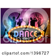 Group Of Silhouetted People Dancing Over Colorful Lights With Magic Sparkles And A Sign With Text