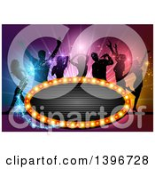 Clipart Of A Group Of Silhouetted People Dancing Over Colorful Lights With Magic Sparkles And A Sign Royalty Free Vector Illustration by dero