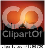 Clipart Of A Silhouetted Mosque Against An Orange Sunset Ramadam Kareem Royalty Free Vector Illustration