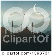 Clipart Of A Silhouetted Mosque Against A Sunrise Ramadam Kareem Royalty Free Vector Illustration