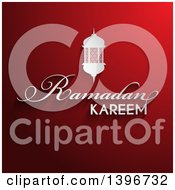 Clipart Of A White Lantern Over Ramadam Kareem Text On Red Royalty Free Vector Illustration