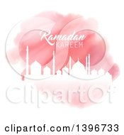 Clipart Of A Pink Watercolor Ramadan Kareem Background With A White Silhouetted Mosque Over Gold Royalty Free Vector Illustration