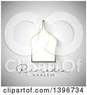 Clipart Of A Silhouetted Mosque Over Ramadam Kareem Text On Gray Royalty Free Vector Illustration