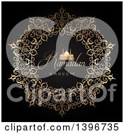 Clipart Of Ramadan Kareem And Gold Silhouetted Mosque In An Ornate Circle On Black Royalty Free Vector Illustration