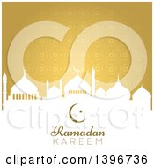 Clipart Of A Ramadan Kareem Background With A White Silhouetted Mosque Over Gold Royalty Free Vector Illustration