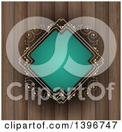 Clipart Of A Turquoise And Gold Diamond Shaped Frame Over Wood Royalty Free Vector Illustration by KJ Pargeter