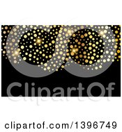 Clipart Of A Background Invitation Or Business Card Design With Sparly Gold Dots On Black Royalty Free Vector Illustration by KJ Pargeter