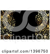 Background Invitation Or Business Card Design With Sparly Gold Dots On Black