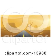 Double Lane Road Leading Forward Strait Through A Desert Clipart Illustration