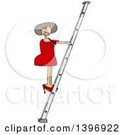 Cartoon White Business Woman Climbing A Ladder